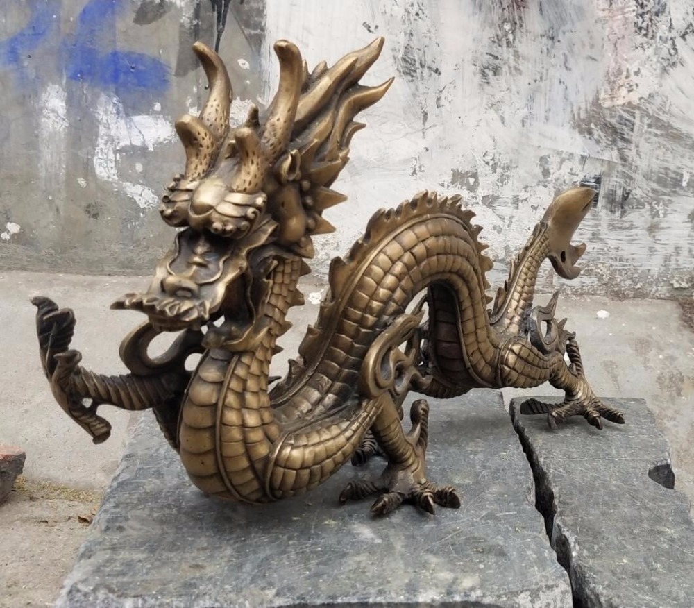 Long 48CM/18.8INCH,Christmas Decoration Asian Antique Pure Bronze  Hand Carved Dragon Statue/Rare Chinese Dragon Big Sculpture