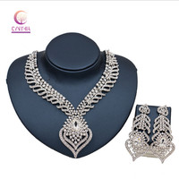 2017 African Nigerian Wedding Bridal Dubai full crystal silver plated Jewelry Sets African Beads Jewelry Set Wholesale