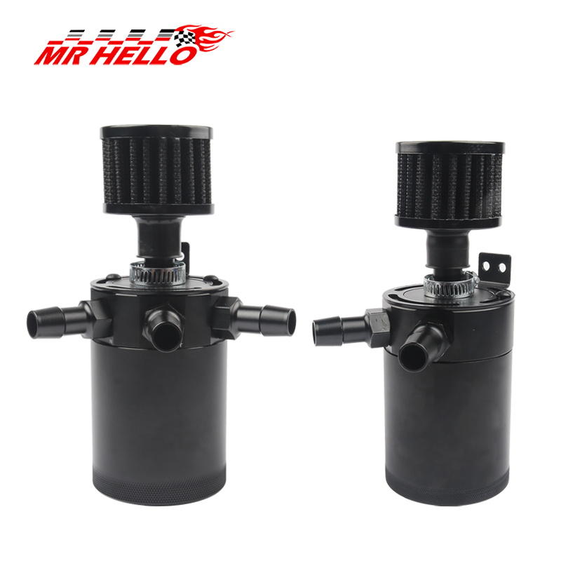 MR HELLO Universal Aluminum 2-port/ 3-port Oil Catch Can Tank With Breather Filter Engine Mini Oil Separator