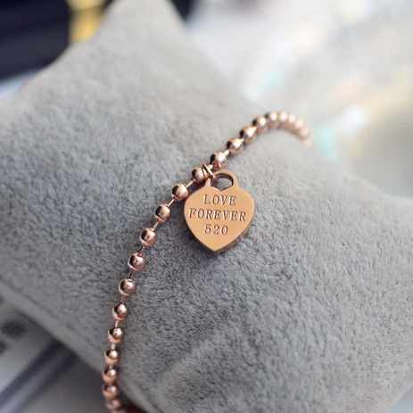 YUN RUO Fashion Brand Rose Gold Color Heart Bracelet Charms 316L Stainless Steel Jewelry Woman Beads Chain Link Prevent Fade