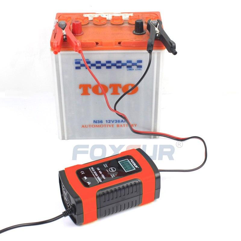 FOXSUR 12V Automatic Smart Battery Charger Car & Motorcycle Charger, 12AH 36Ah 45AH 60AH 100AH Pulse Repair Charger LCD Display