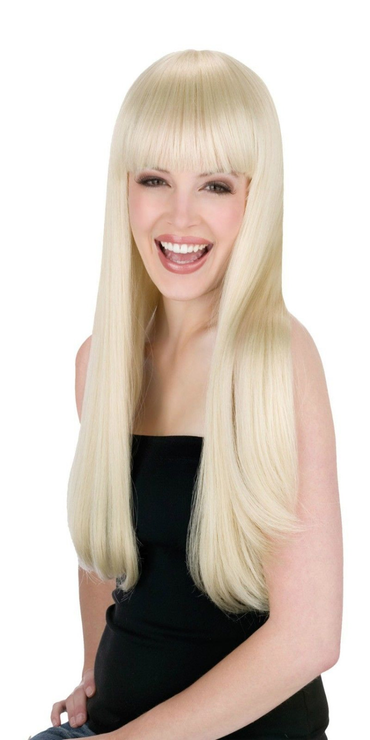 Womens Long Blonde Wig Straight Sexy Hair Bangs 60s Costume GoGo Hippie  Adult no Lace Front Japanese synthetic fibre wigs be112bca4d