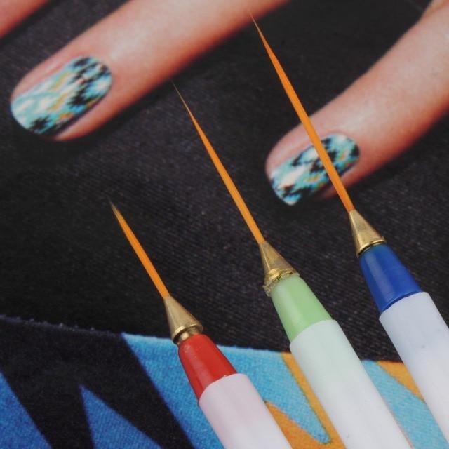 3pcsset Painting Striping Nail Polish Uv Gel Pen Nail Art Brush Set