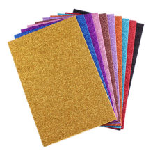 (10Pcs/lot)A4 Sponge Paper Glitter Flash Gold Handcraft EVA Foam Paper Sheets Kindergarten DIY Paper Sheets Without Sticker(China)
