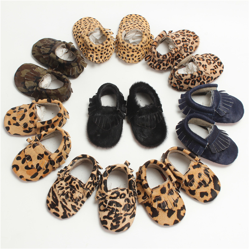 Hand-made Baby Moccasins Horse Hair Leather Baby Shoes Tassel Leopard First Walkers Bebe Soft Bottom Newborn Shoes