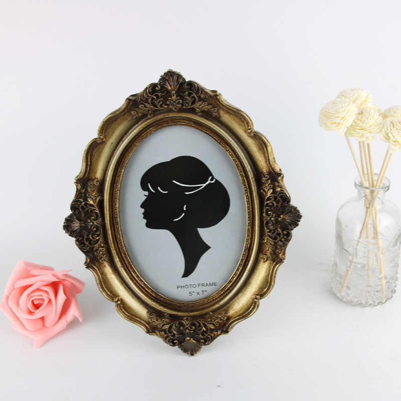 European and American Vintage Home frame 7 inch bronze and gold carving oval frame display resin handicraft  home decor