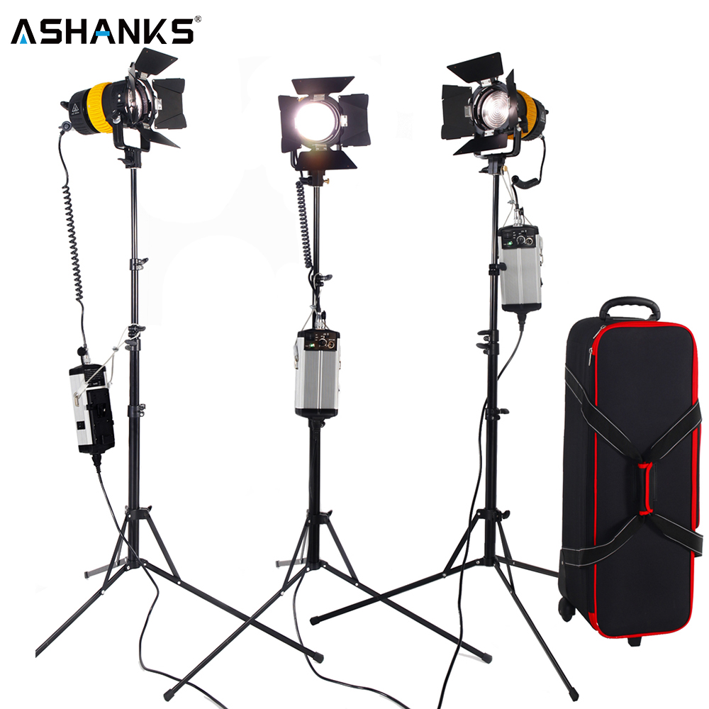 3PCS Bi color 80W LED Spotlight Lighting with Portable Light stand V mount Battery for Camera