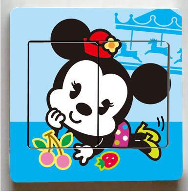 1 pcs Cute Mickey Mouse Donald Duck Light Switch Stickers-Free Shipping
