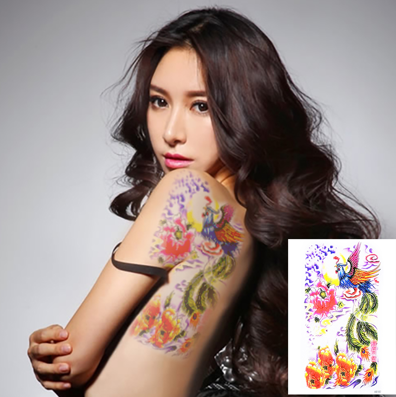 chinese phoenix bird tattoo stickers auspicious symbol designs waterproof temporary tattoos. Black Bedroom Furniture Sets. Home Design Ideas