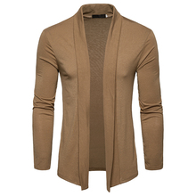 New Arrivals 2018 casual sweater fashion top brand turn-down collar solid color Slim men's Sweater and national cardigan EU size