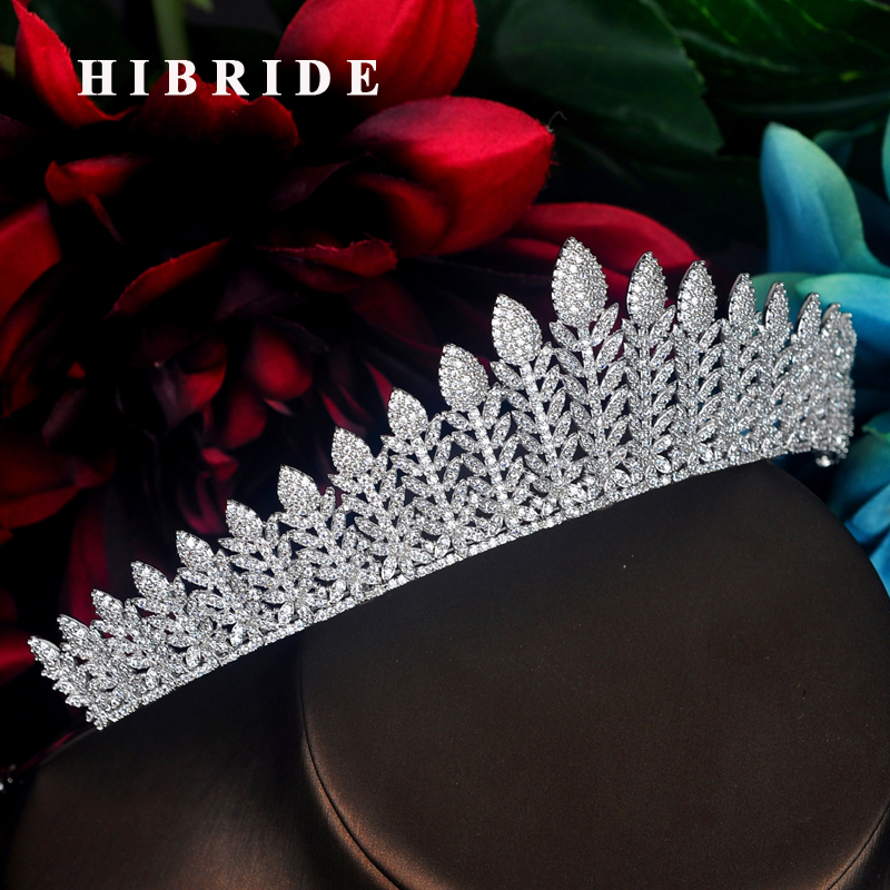 Hibride 새로운 스파클링 큐빅 지르콘 포장 신부 티아라 크라운 럭셔리 hairbands 헤드 피스 크라운 헤어 액세서리 파티 선물 C 70-에서헤어 주얼리부터 쥬얼리 및 액세서리 의  그룹 1