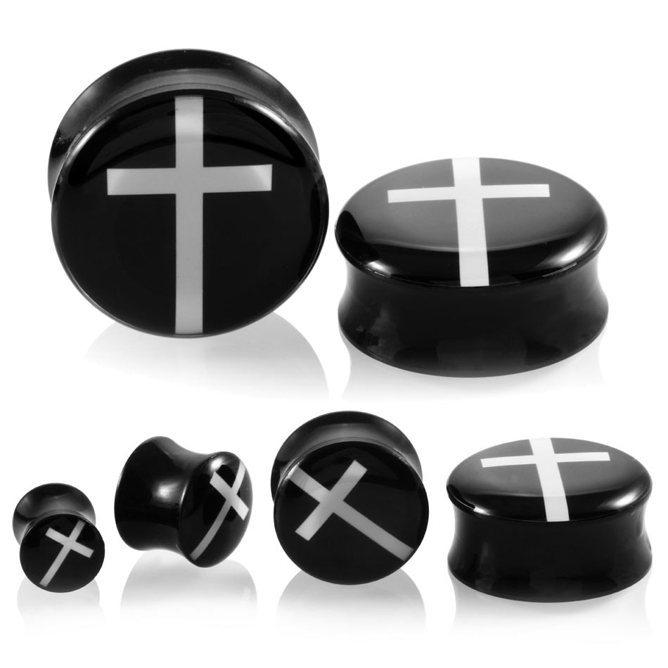 PAIR Acrylic White Hollow Cross Design Double Flare Ear Flesh Tunnel Plug Gauges Piercing Ear Expander Stretcher Fashion Jewelry