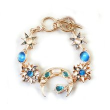 1PC Fashion Beautiful Rhinestone Bracelet Resin Star Moon Sun Bracelet Golden Cute Ladies Jewelry Bohemia for Female Best Gift(China)