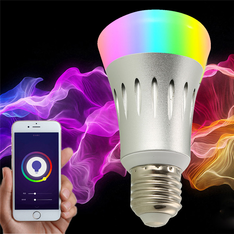 LAIDEYI E27 Smart WiFi LED Light Bulb 8W RGB Voice Control APP Pairing Light Bulbs For Android IOS RGB Light LED Bulb Wireless new dc5v wifi ibox2 mi light wireless controller compatible with ios andriod system wireless app control for cw ww rgb bulb