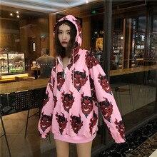 Devil Sweatshirt Harajuku Hoodies Women Punk Rock Hip Pop Metal Ring Zipper Casual Loose Long Sleeve Hooded Pullovers Streetwear
