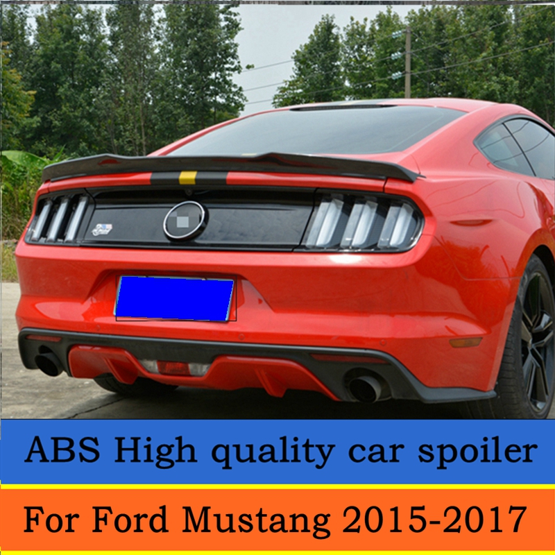 For Ford <font><b>Mustang</b></font> ABS plastic material Rear Trunk Spoiler <font><b>Wing</b></font> <font><b>2015</b></font> 2016 2017 Auto Racing Car Styling image