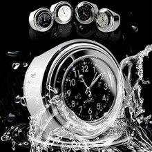 Vehemo Motorcycle Motorbike Handlebar Clock Thermometer Waterproof Metal Universal Gauge Thermometer Clock