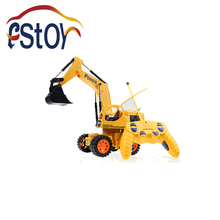 RC Excavator Wireless 5CH RC Remote Control 4 Wheel Construction Tractork Engineering Backhoe Car Toy  with Light