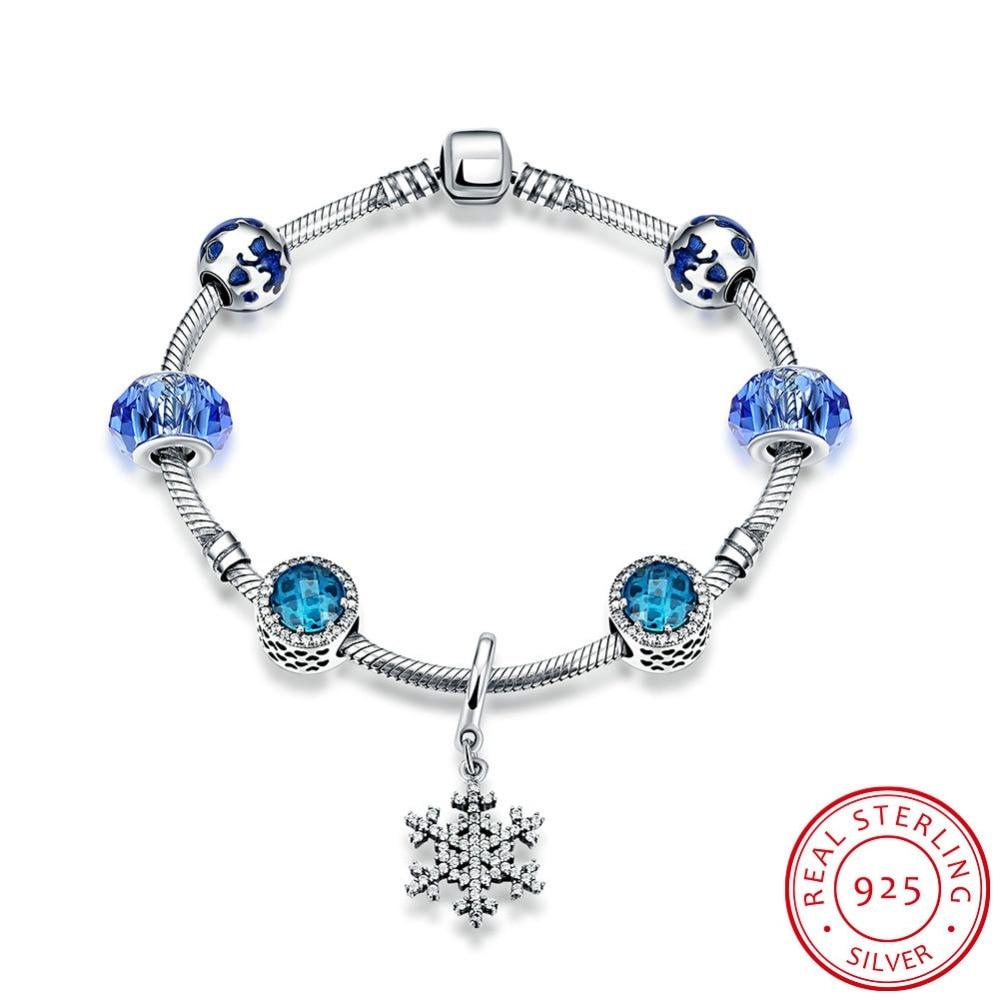 925 Sterling Silver Bracelets for Women 2016 Jewelry Blue Glass Beads Bracelet with Zirconia Snowflake Pendant Bracelet Femme все цены