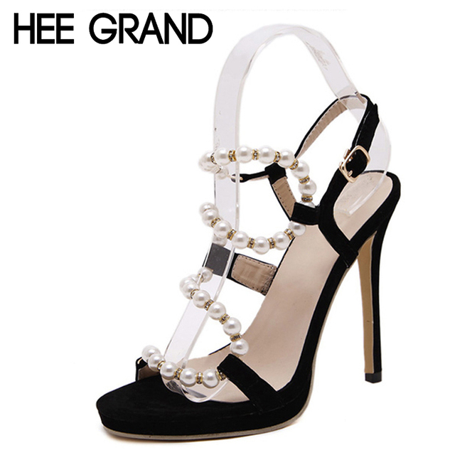 HEE GRAND 2016 Women Sexy Pumps Pearl Lace Up Thin High Heels Fashion Summer Wedding Shoes Woman For Party Size 35-40 WXG156