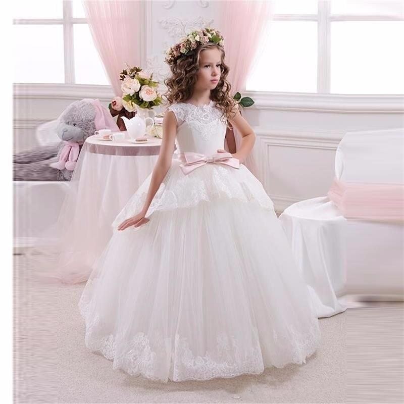 Princess Ivory/ White Tulle Lace Tutu Ball Gown Long   Flower     Girl     Dresses   2016   Girls   First Communion Birthday   Dresses   vestido