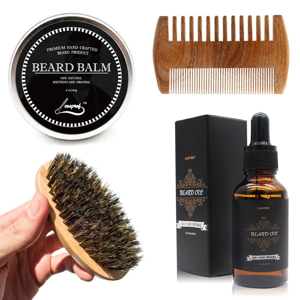 cosprof beard oil balm brush and comb kit for men beard care gift set with organic ingredients. Black Bedroom Furniture Sets. Home Design Ideas