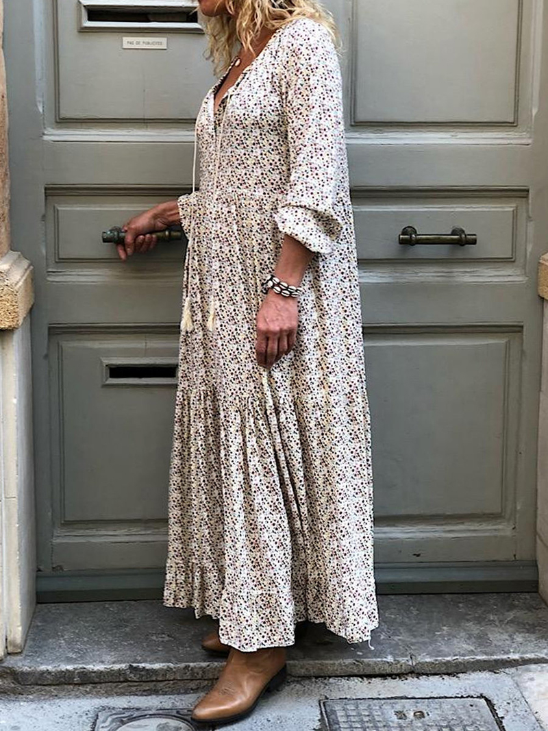 Bohemian Printed Dress Loose Plus Size Long Sleeve Beach Dress Vintage Party Long Dresses Vestidos 5XL(China)