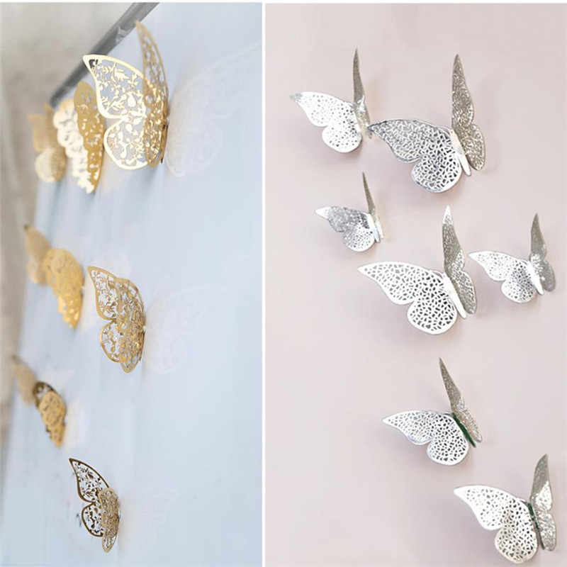 12 Pcs 3D Hollow butterfly wall sticker Gold/Silver Paint paper sticking butterfly stickers home wall decoration Cut Out design