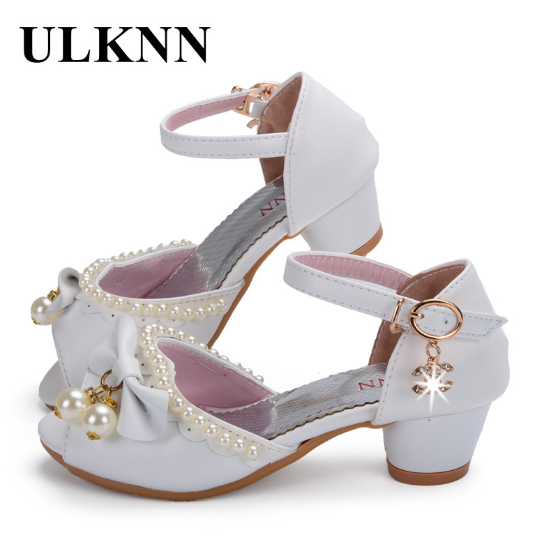 ULKNN Enfants Children Sandals Kids Girls Wedding Shoes Dress Party Pearl Shoes For Baby Girls Soft Leather Princess Sandals
