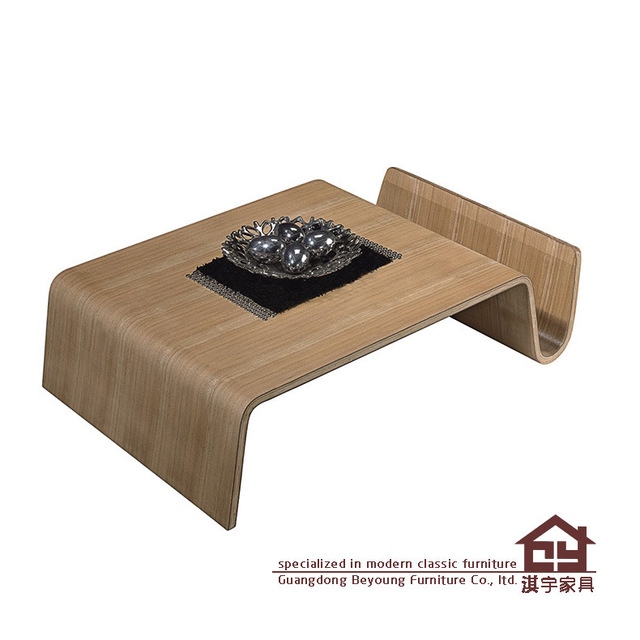 Qi Yu Furniture Q722 Scando Simple Curved Wood Magazine Rack Coffee Table  Tatami Short N