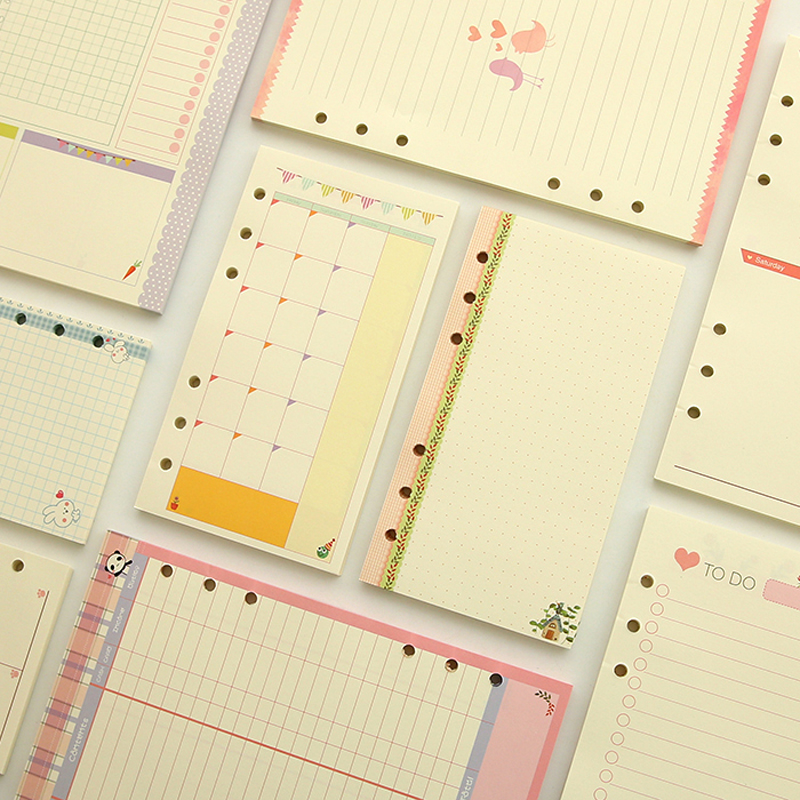 A5 A6 Cute Colored Diario Refills Binder Filler Paper Planner Organizer Accessories Filler Paper For Filofax