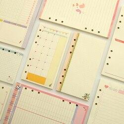 A5 a6 bonito colorido diario recargas pasta de enchimento papel planejador organizador acessórios filler papel para filofax