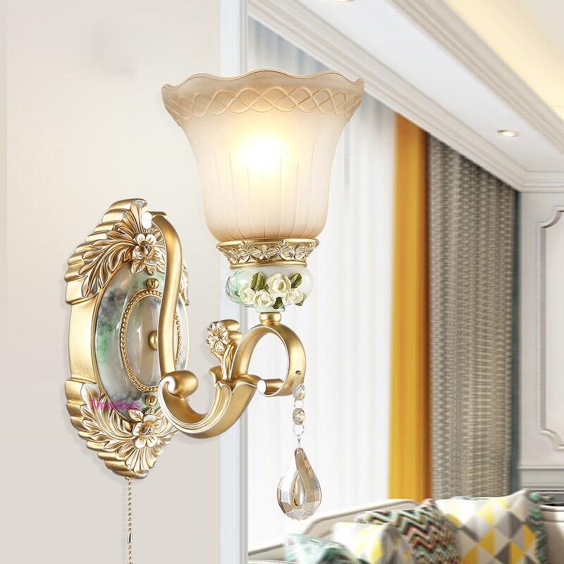 European Wall Lamps Modern Living Room Hotel Background Crystal Wall Light Bedroom Bedside Lamps led Corridor Aisle Resin Lights