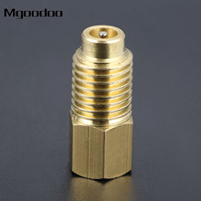 AC R134A Straight Refrigerant Tank/Vacuum Pump Adapter To R12 Fitting 1/4 Flare Female X 1/2 ACME Male W/ Valves Core