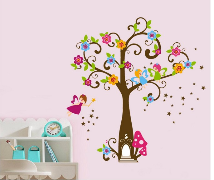 Cartoon Cute Trees Branch Kids Room Removable Wall Stickers Princess