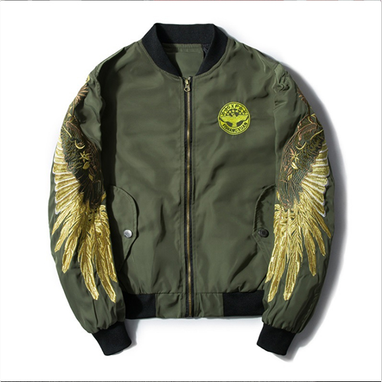 2018 Spring Autumn jacket Golden Wing Jacket MA1 Bomber Flight Jacket Young Men Hip Hop Street Clothing Eagle Jacket