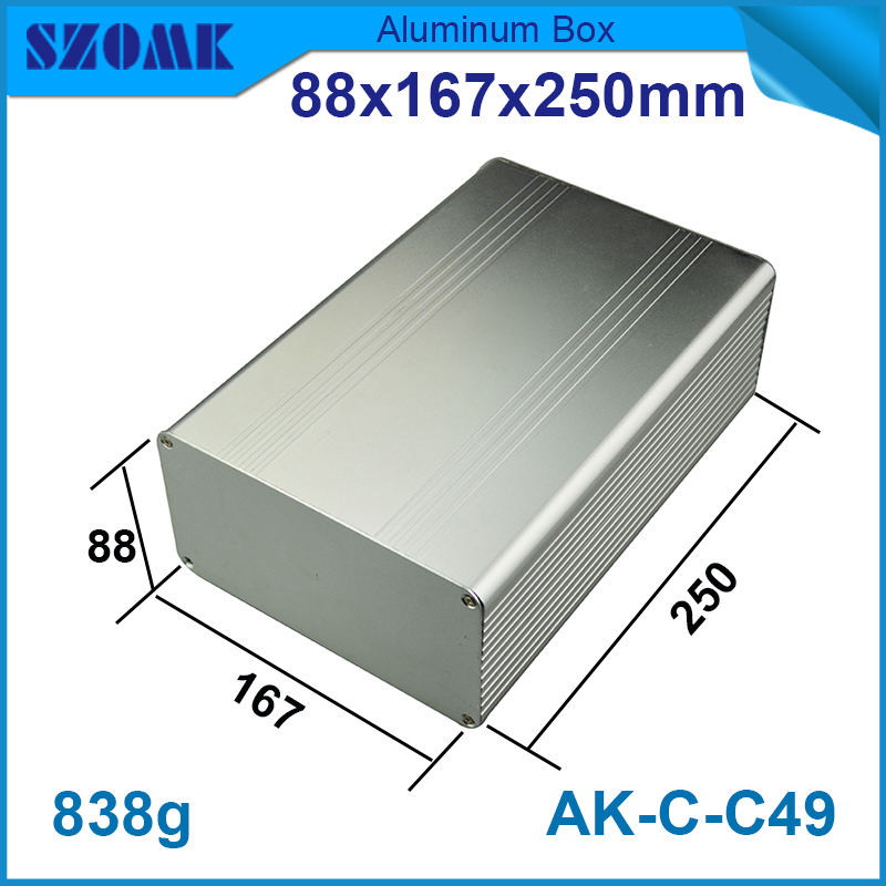 20pcs/lot 88(H)x167(W)x250(L) mm top selling big good quality aluminium enclosure in silver color juction box for electronic