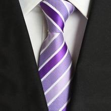 New Classic Mens Luxury Silk Tie Purple Jacquard Striped Men Ties Checked Formal Business Wedding Cravatte Seta 8cm Suit Necktie