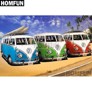 HOMFUN Full SquareRound Drill 5D DIY Diamond Painting Beach car bus Embroidery Cross Stitch 5D Home Decor Gift A01975