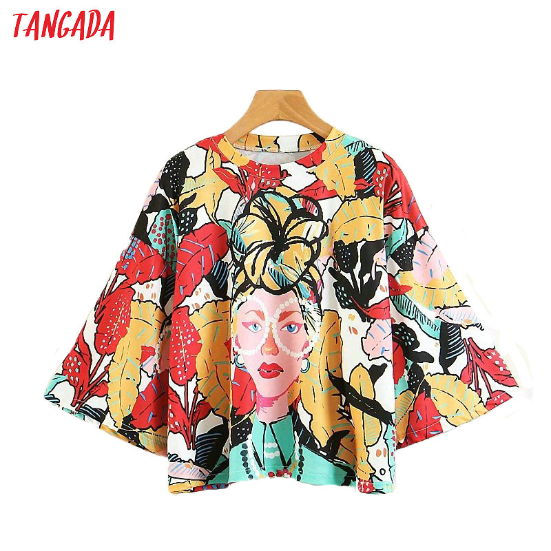 Tangada Fashion Woman Clothes Floral Print Street Wear T-shirts Three Quarter O-neck Oversize Shirt Female Brand Top Tee XZ90