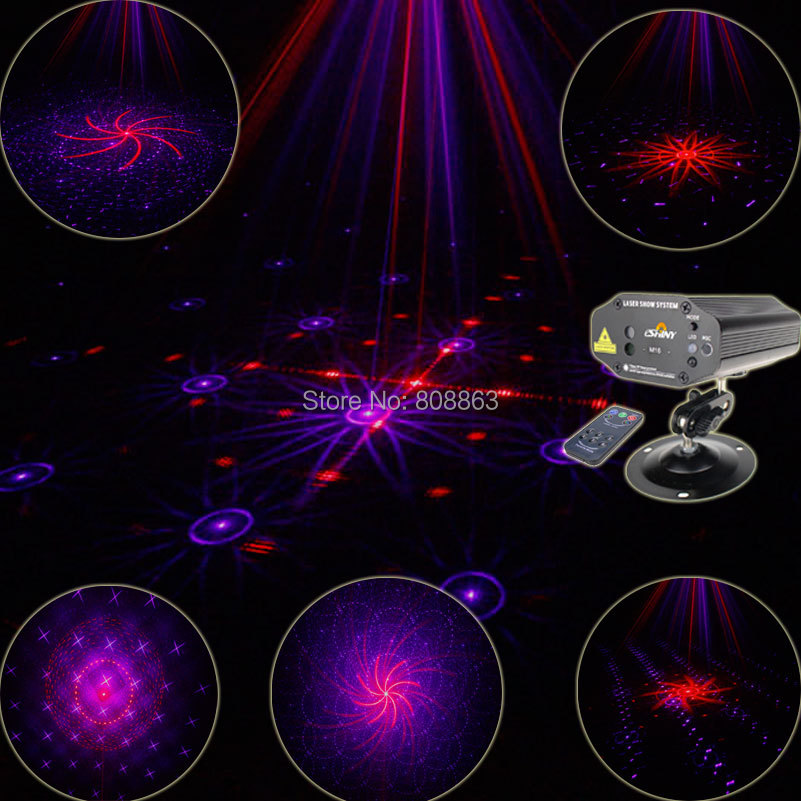 New Arrival Red Purple Laser Projector Remote 16 patterns Lighting Light Disco Xmas Dance Party DJ Bar Stage Lights Show MV16