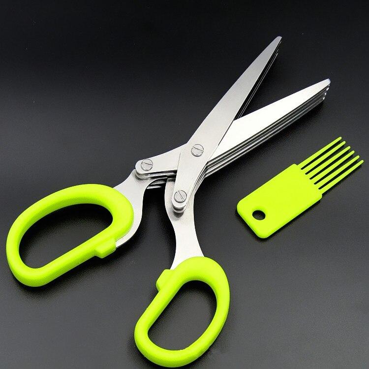 Mehrzweck Restaurant Kochen Edelstahl Obst Gemüse 5 Ebene Herb Schere Küche Werkzeug mit Reinigung Kamm