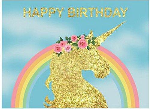 golden unicorn rainbow pink flower backdrop vinyl cloth