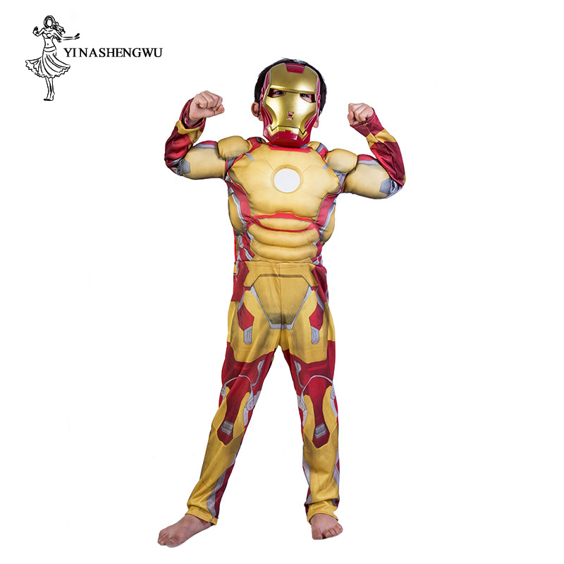 Iron Man Clothes Cosplay Anime Avengers Costume Kids Boy with Mask Spiderman Superman Cosplay Costume for Boys Halloween Costume
