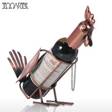 Tooarts Cremagliera del Vino Del Metallo Moderno Gallo Supporto Del Vino Figurine di Whisky Bottiglia di Supporto di Supporto di Bottiglia di Vino decorazione della Casa Accessori