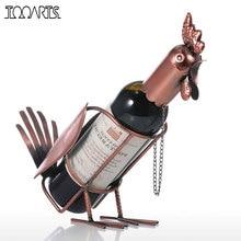 Tooarts Wine Rack Metal Modern Rooster Wine Holder Figurines Whisky Bottle Holder Wine Bottle Holder Home decoration Accessories