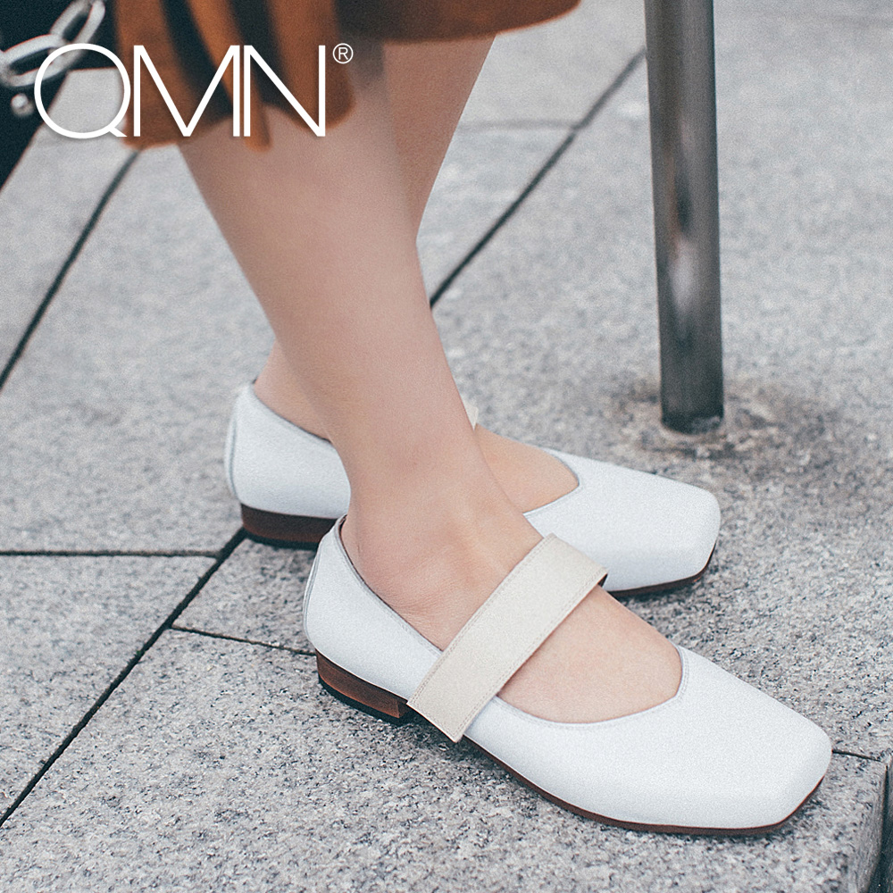 QMN women genuine leather flats Women Retro Square Toe Flat Heels Mary Janes Shoes Woman Leather White Flats qmn women crystal embellished natural suede brogue shoes women square toe platform oxfords shoes woman genuine leather flats