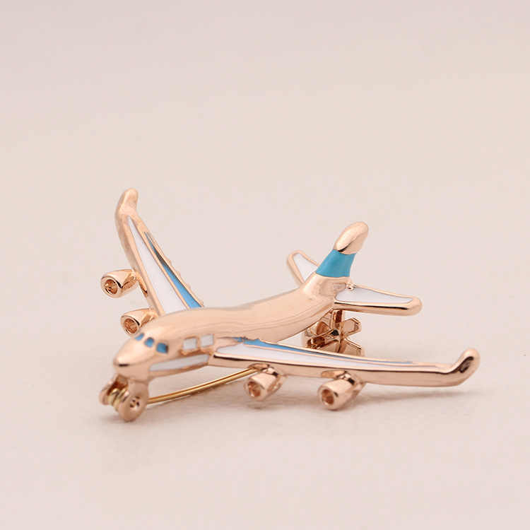Plane Brooch Fly Aircraft Women Safety Pin Metal Badges for Dresses Hat Cap Collar Cloth Suit Coat Sweater Broches Bijou Brosche