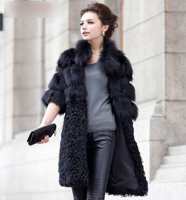 2016 Luxury Genuine Natural Fox Fur Coat Jacket Lamb Fur Patchwork Winter Women Fur Trench Outerwear Coats Plus Size VK1497