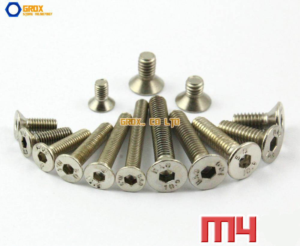 M3 M4 Nickel Plated Countersunk Socket Allen Bolt Screw 10.9 Grade Alloy Steel 20pcs m3 6 m3 x 6mm aluminum anodized hex socket button head screw